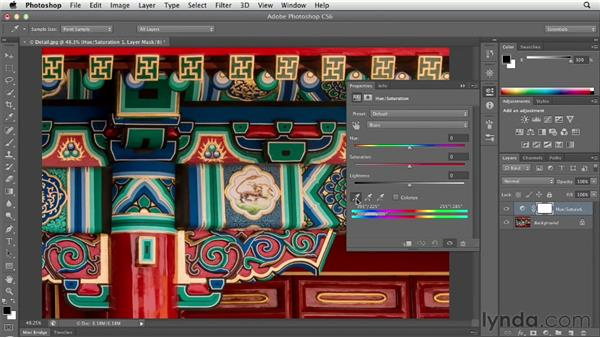 Shifting colors with Hue/Saturation: Photoshop CS6 Essential Training