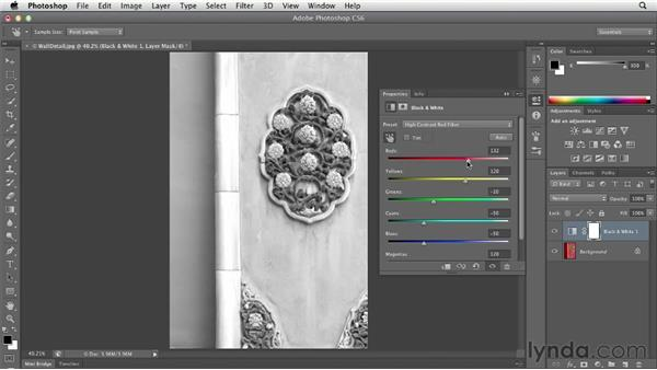 Converting color to black and white: Photoshop CS6 Essential Training