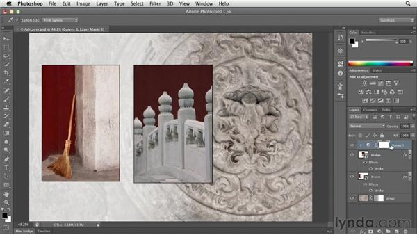 Controlling which layers are affected by an adjustment layer: Photoshop CS6 Essential Training