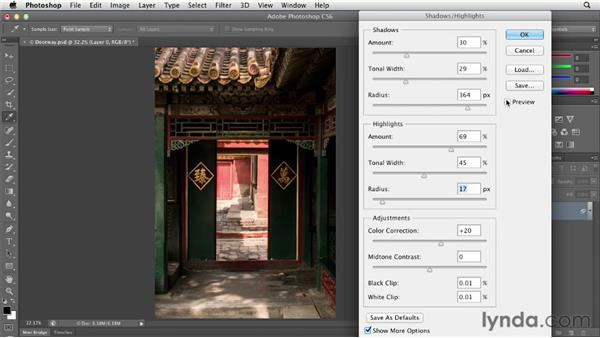 Adjusting shadows and highlights: Photoshop CS6 Essential Training