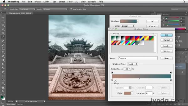 Using a gradient fill layer to add a color wash: Photoshop CS6 Essential Training