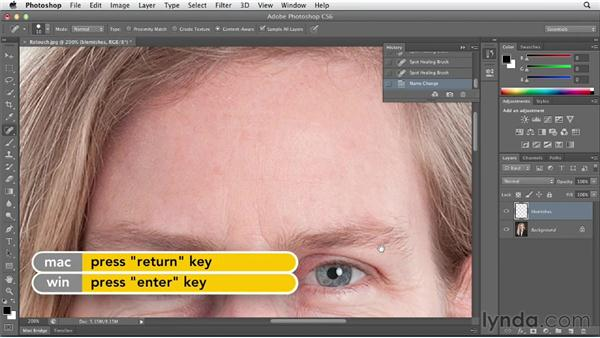 Removing blemishes with the Spot Healing Brush and the Patch tool: Photoshop CS6 Essential Training
