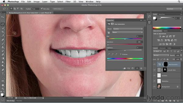 Making teeth bright and white with a Hue/Saturation adjustment layer: Photoshop CS6 Essential Training