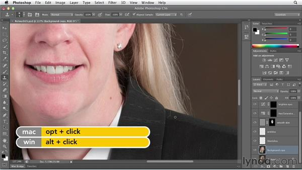 Taming flyaway hair with the Patch tool: Photoshop CS6 Essential Training