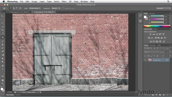 Removing unwanted details with Content-Aware Fill: Photoshop CS6 Essential Training