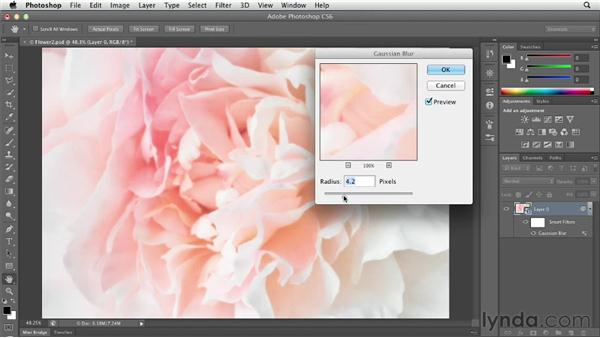 Creating a soft glow with the Gaussian Blur filter: Photoshop CS6 Essential Training