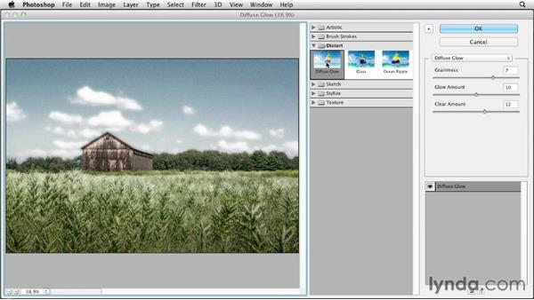 Creating an infrared look with Diffuse Glow: Photoshop CS6 Essential Training