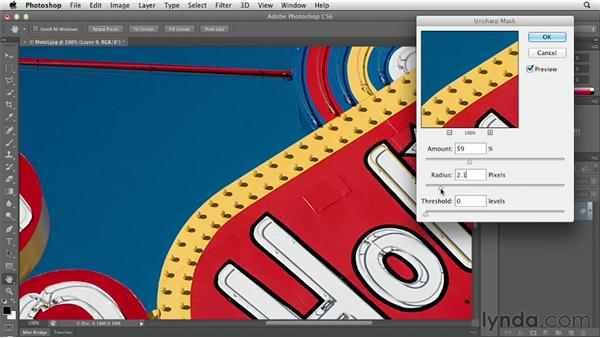 Sharpening an image with Unsharp Mask: Photoshop CS6 Essential Training