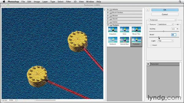 Giving an image texture with the Texturizer filter: Photoshop CS6 Essential Training