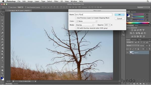 Adding a lens flare effect with Screen: Photoshop CS6 Essential Training