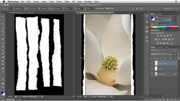 Scanning or photographing paper to add a deckled edge: Photoshop CS6 Essential Training