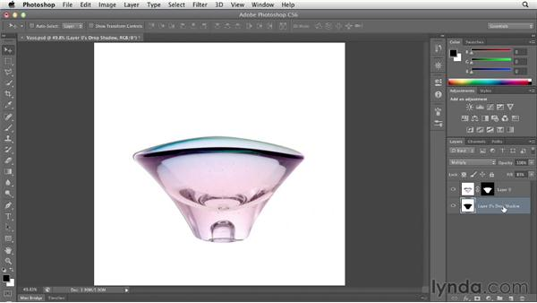 Making a cast shadow more realistic with Multiply: Photoshop CS6 Essential Training