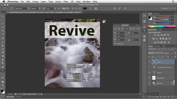 Adding paragraph (area) type: Photoshop CS6 Essential Training
