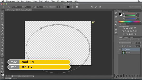 Adding type on a path: Photoshop CS6 Essential Training