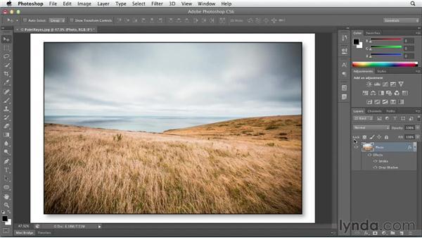 Adding a drop shadow effect: Photoshop CS6 Essential Training