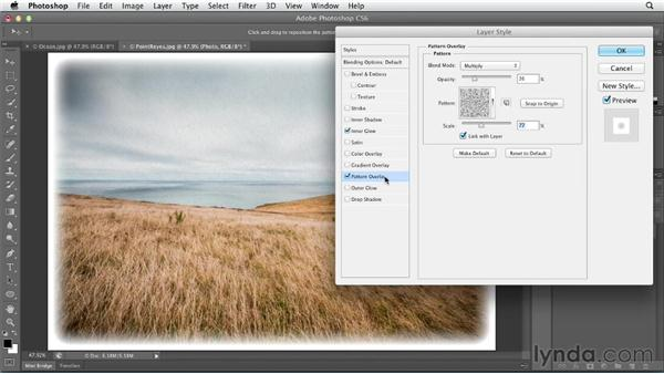 Adding edges, textures, and color overlays using layer styles: Photoshop CS6 Essential Training