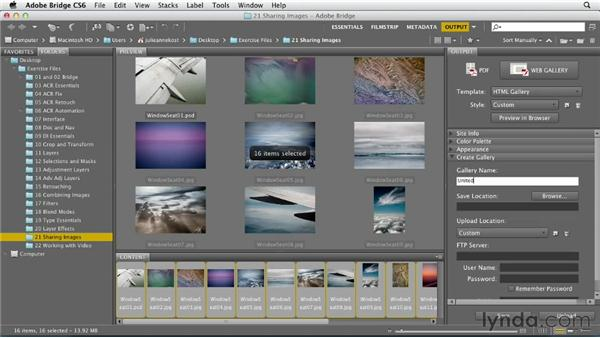 Exporting web photo galleries: Photoshop CS6 Essential Training