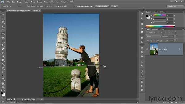 Straightening a crooked image: Photoshop CS6 One-on-One: Fundamentals
