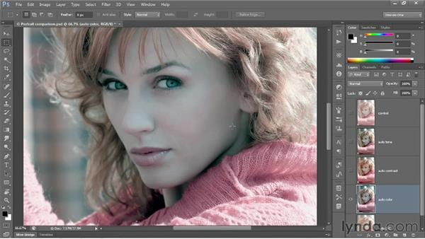 Automatic brightness and contrast: Photoshop CS6 One-on-One: Fundamentals