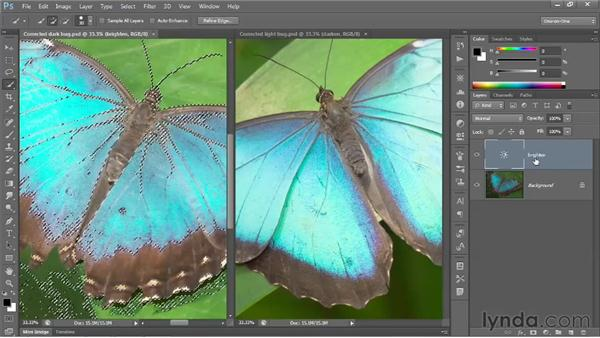 Isolating an adjustment with a layer mask: Photoshop CS6 One-on-One: Fundamentals