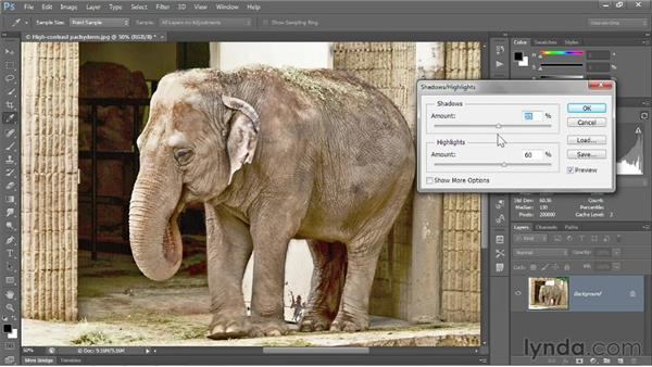 Using the Shadows/Highlights command: Photoshop CS6 One-on-One: Fundamentals