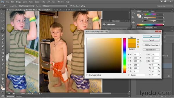 Compensating with Photo Filter: Photoshop CS6 One-on-One: Fundamentals
