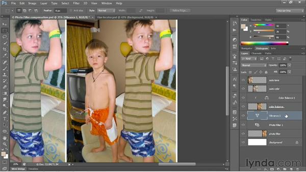 Adjusting color intensity with Vibrance: Photoshop CS6 One-on-One: Fundamentals