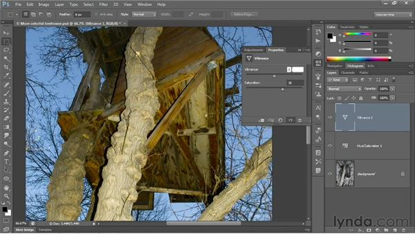 Making more color with Vibrance: Photoshop CS6 One-on-One: Fundamentals