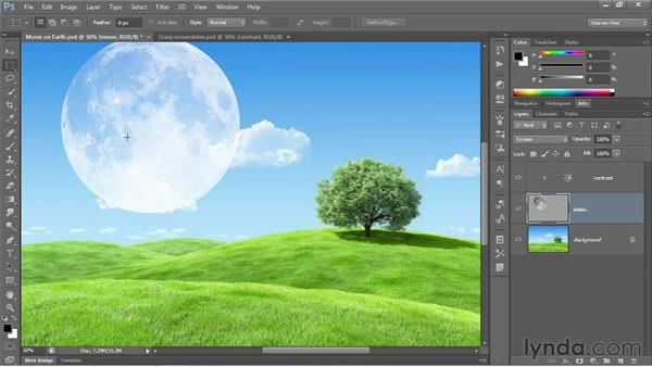Aligning one image element to another: Photoshop CS6 One-on-One: Fundamentals