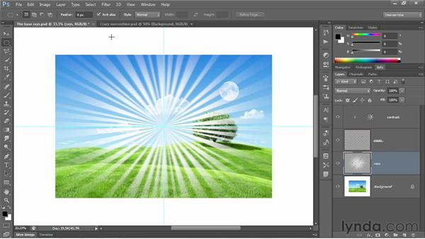 Creating rays of light: Photoshop CS6 One-on-One: Fundamentals