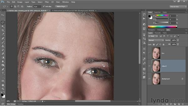 Smoothing skin textures: Photoshop CS6 One-on-One: Fundamentals