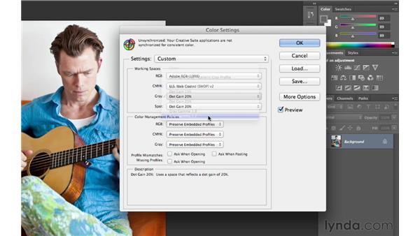 Setting up your color settings: Photoshop CS6 for Photographers