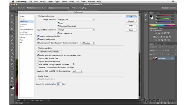 Reviewing file-handling preferences: Photoshop CS6 for Photographers