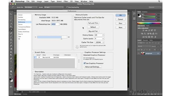 Setting performance preferences : Photoshop CS6 for Photographers