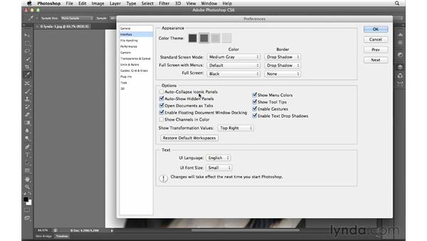 Changing the view mode and working with panels: Photoshop CS6 for Photographers