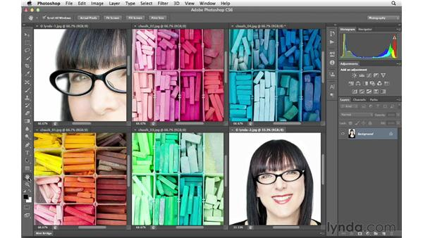 Opening and arranging multiple documents: Photoshop CS6 for Photographers