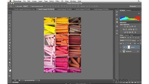 Combining, saving, and closing multiple documents: Photoshop CS6 for Photographers