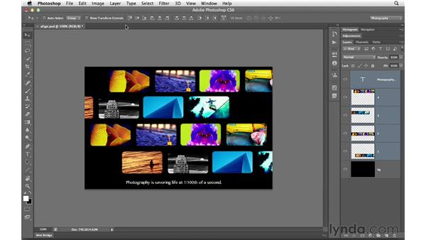 Aligning layers: Photoshop CS6 for Photographers