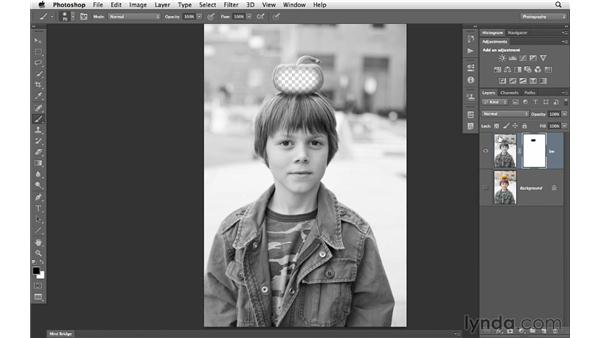 Painting away the contents of a layer with a mask: Photoshop CS6 for Photographers