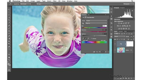 Selecting and modifying color with the Hue/Saturation eyedroppers: Photoshop CS6 for Photographers