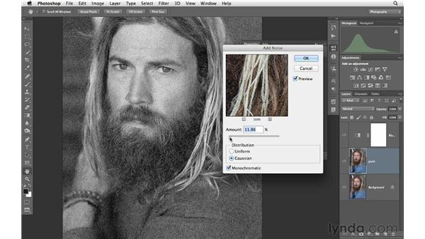 Adding grain and tone to a black-and-white image: Photoshop CS6 for Photographers