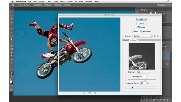 Exploring advanced noise reduction using channels: Photoshop CS6 for Photographers