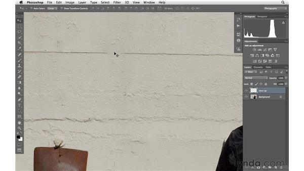 Cleaning up the background of an image: Photoshop CS6 for Photographers