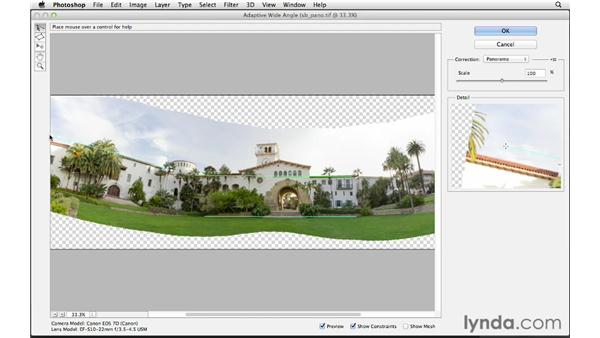 Correcting distortion with the Adaptive Wide Angle correction: Photoshop CS6 for Photographers