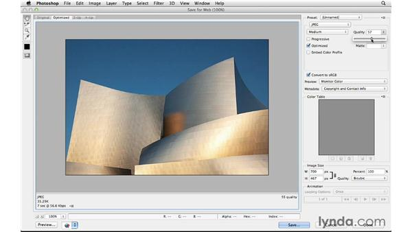 Using Save for Web to create an optimized JPEG: Photoshop CS6 for Photographers