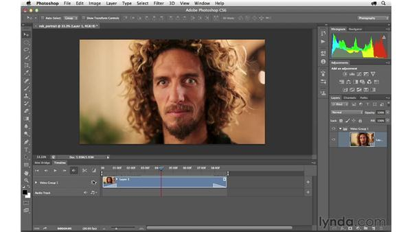 Editing a video clip and adding text: Photoshop CS6 for Photographers
