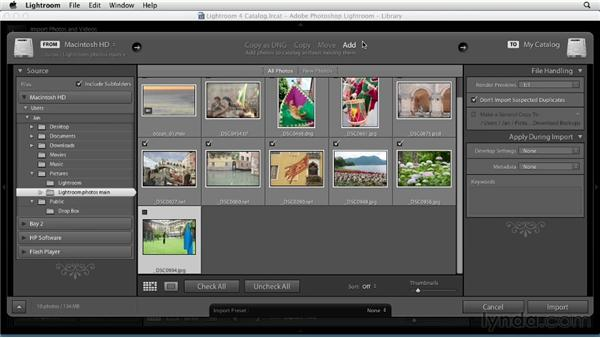 Importing from a drive: Up and Running with Lightroom 4