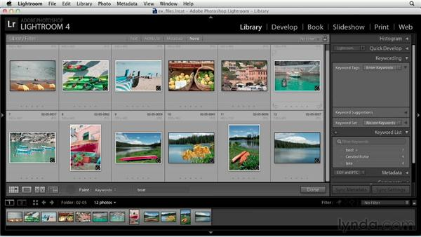 Using keywords to organize your library: Up and Running with Lightroom 4
