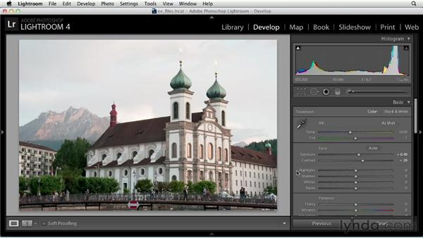 Adjusting tonal values in the Basic panel: Up and Running with Lightroom 4