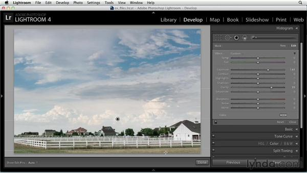 Making variable adjustments with the Graduated Filter tool: Up and Running with Lightroom 4